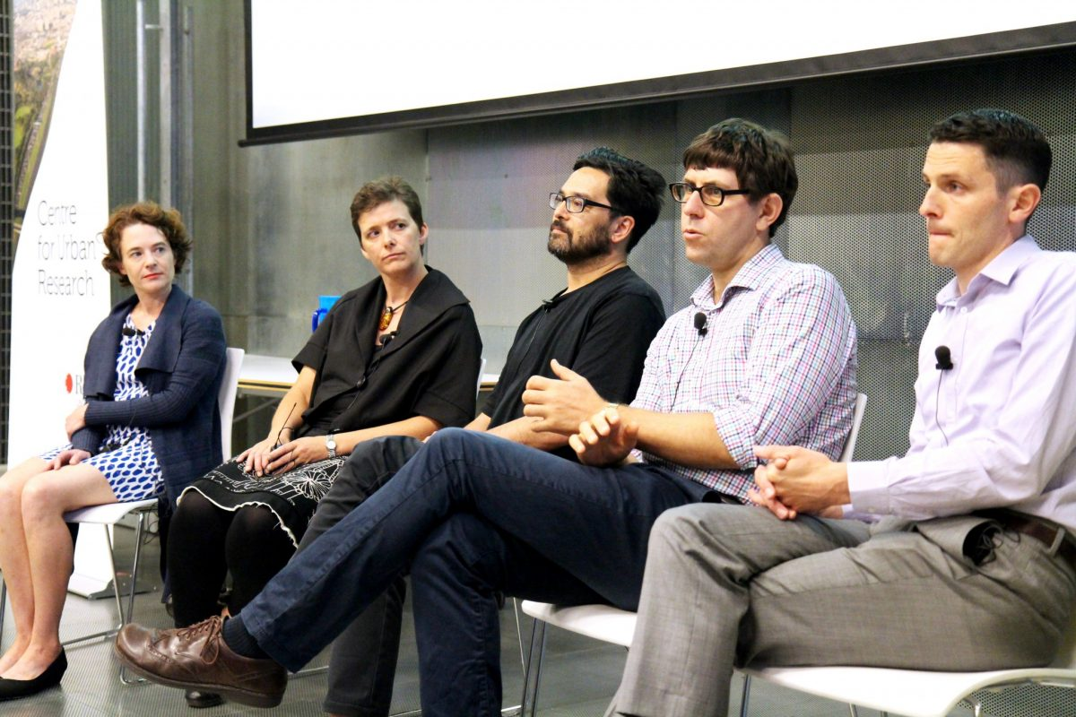 CUR academics Sarah Bekessy, Libby Porter, Ian Woodcock, Jago Dodson and Joe Hurley (left to right) presenting at City of Melbourne's Future Melbourne 2026, shaping the conversations and ideas for the city's future.